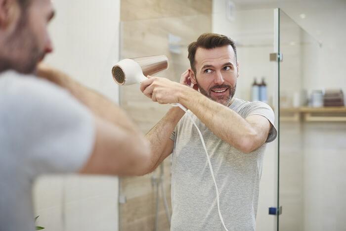 髪を乾かしてからカット