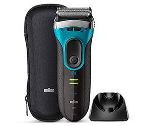 ブラウン シリーズ3 Proskin メンズ電気シェーバー 3枚刃 水洗い/お風呂剃り可 ブルー 3080s-B